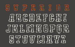 Slab serif contour font in the style of hand-drawn graphics Stock Images