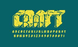 Slab serif extra bulk font in the sport style. Hollow letters and numbers with rough texture for logo and title design. Yellow print on green background Royalty Free Stock Photos