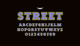 Slab serif font with contour stock photo