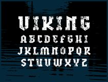 Slab serif font in military style. Letters with rough texture for logo and emblem design stock illustration