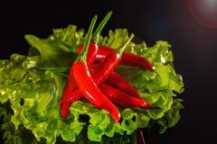 Slablad met roodgloeiende peper op zwarte achtergrond royalty-vrije stock foto