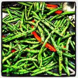 Slabonen en Spaanse pepers stock foto's