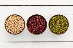 Slabonen, rode bonen, sojaboon nuttig vitaminen en gezondheidsvoordeel Stock Fotografie