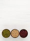 Slabonen, rode bonen, sojaboon nuttige vitaminen en gezondheid benef Stock Afbeelding
