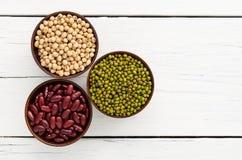 Slabonen, rode bonen, sojaboon nuttige vitaminen en gezondheid benef Stock Foto