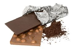 Slabs chocolate and grated chocolate isolated Stock Photos