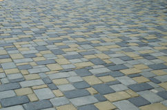 Slabs of stone. Decorative pavers of stone are outdoors Royalty Free Stock Photography