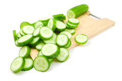Slaces of cucumber. Isolated on white background stock images