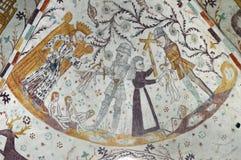 Slachting van de Onschuldigen - Frescoed-kerken van de Kerk van Møn - Elmelunde- royalty-vrije stock fotografie