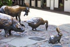 Slachting van Wroclaw, bronsstandbeeld van de geslachte dieren, Wroclaw, Polen Stock Foto