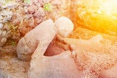 Slachtoffer in Pompei van de uitbarsting van de Vesuvius Royalty-vrije Stock Foto