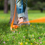 Slack line in the city park. Stock Photography