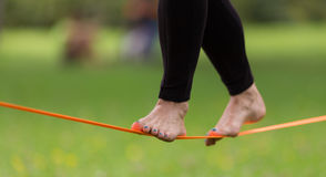 Slack line in the city park. Stock Photo