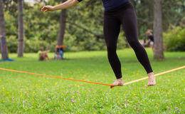 Slack line in the city park. Stock Images