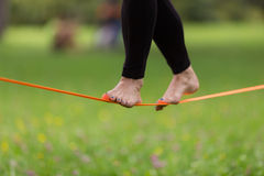 Slack line in the city park. Royalty Free Stock Images