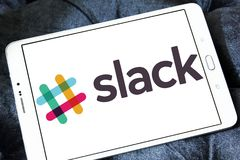 Slack Technologies company logo. Logo of Slack Technologies on samsung tablet . Slack Technologies is a Canadian software company developed the chatting program Royalty Free Stock Photos