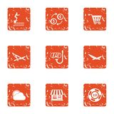 Slacker icons set, grunge style. Slacker icons set. Grunge set of 9 slacker vector icons for web isolated on white background Stock Photo