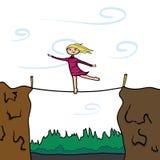 保持您的平衡 slackline的女孩 图库摄影