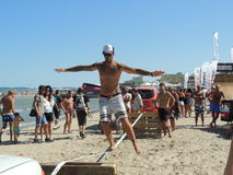 Slackline XMA contest - Riccione 2015 Stock Photography