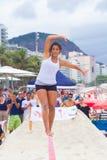 Slackline on Copacabana beach, Rio de Janeiro royalty free stock photo