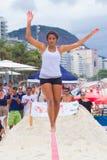 Slackline on Copacabana beach, Rio de Janeiro royalty free stock images