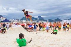 Slackline on Copacabana beach, Rio de Janeiro stock images