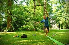 Slackline in park stock photo
