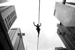 Slackline, Sao Paulo, Brazil. Sao Paulo, Brazil. February 25, 2018. The slackliner, Leandro, usually practices every Sunday at Avenida Paulista, in Sao Paulo Stock Photo