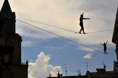 Slackliner; Lublin; Poland Stock Photography