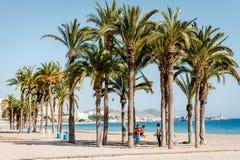 Slacklining en una playa Imágenes de archivo libres de regalías