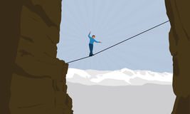Slacklining Highlining. Vector drawing of a man walking on the rope over a ravine.Action scene of a brave man who faces his fears with an extreme sport. Man
