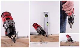 Sladdlös skruvmejsel för collage Fotografering för Bildbyråer