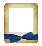Slade for photo with blue ribbon isolated Royalty Free Stock Photos