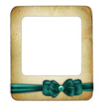 Slade for photo with green ribbon isolated Stock Photography