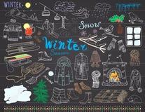 冬天季节集合乱画元素 手拉的集合用玻璃热的酒、起动、衣裳、壁炉、山、滑雪和sladge,温暖 免版税库存照片