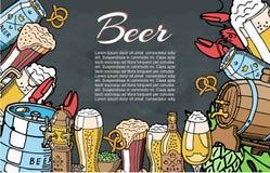 Slag av begreppet för öl- och ölaffischdesign Färgat skissa tappningstilillustrationen för öl- och alkoholcocktail party stock illustrationer