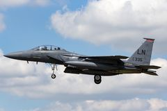 Slag Eagle 91-0335 från den 494. kämpeskvadronen, 48th kämpevinge för U.S.A.F. McDonnell Douglas F-15E för Förenta staternaflygva arkivbild
