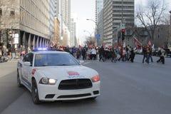 Slag Quebec för offentlig sektor arkivbild
