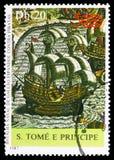 Slag tussen het Spaans en piraatschip, Ontdekking van Amerika serie, circa 1987 stock afbeelding
