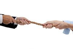 Slag van de geslachten/touwtrekwedstrijd Stock Foto