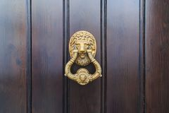 Slag van de leeuw de hoofddeur op een oude nieuwe houten deur in Malaga, Spanje stock afbeeldingen