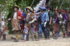 Slag van Pavia: Landsknechts op maart Stock Foto's