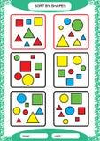 Slag vid former Sortera leken Gruppen vid former - kvadrera, cirkla, triangeln Special sorterare för förskole- ungar arbetssedel royaltyfri illustrationer
