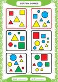 Slag vid former Sortera leken Gruppen vid former - kvadrera, cirkla, triangeln Special sorterare för förskole- ungar arbetssedel vektor illustrationer