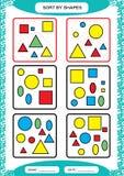 Slag vid former Sortera leken Gruppen vid former - kvadrera, cirkla, triangeln Special sorterare för förskole- ungar arbetssedel stock illustrationer