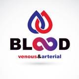Slagaderlijk en aderlijk bloed, conceptuele vector i van de bloedomloop stock illustratie