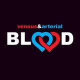 Slagaderlijk en aderlijk bloed, conceptuele vector i van de bloedomloop vector illustratie