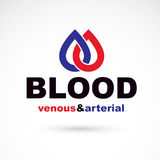 Slagaderlijk en aderlijk bloed, de conceptuele vector van de bloedomloop vector illustratie