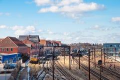 Slagelse-Bahnstation in Dänemark Lizenzfreies Stockfoto