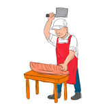 Slager Cutting Meat Cartoon stock illustratie